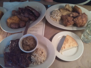 Ribs, fried chicken, corn bread, apple sauce, grits, mac & cheese