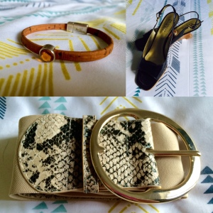 Portugese cork and swarovski crystal bangle from Designs by MoDa, Franco Sarto kitten heels, Snakeskin and gold buckle belt from BeBe.