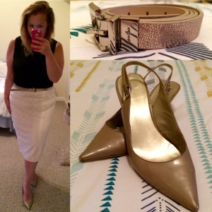 Black  tank by Coveny; Lace skirt by Lord & Taylor; Rose gold belt by Calvin Klein; Nude pointed toe kitten heels by Nine West.