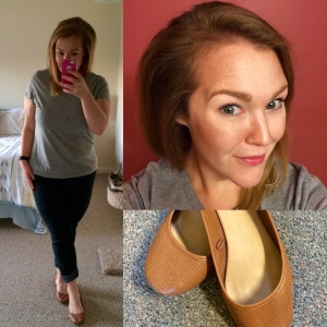 Grey t-shirt by Dansky; Skinny jeans by Forever 21; Chestnut flats by SO Shoes.