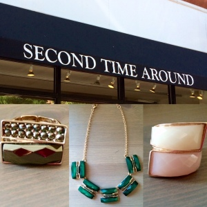 From left: Steel grey & ruby red gem ring, emerald green & gold chunky necklace, pearl & antique pink opaque gem ring.