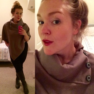 """Nothing says """"casual"""" like a messy bun. No judgement. It's all about the poncho afterall."""