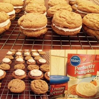 Cream Cheese Frosting  Pumpkin Cookie Sandwish
